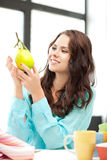 Lovely woman with lemon. Bright picture of lovely woman with lemon Royalty Free Stock Photography