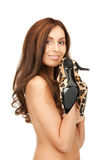 Lovely woman with leopard shoes Stock Photo