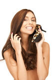 Lovely woman with leopard shoes Royalty Free Stock Photo