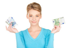 Lovely woman with money Royalty Free Stock Image