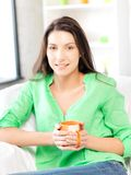 Lovely woman with mug Royalty Free Stock Photos