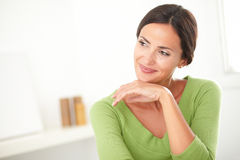 Lovely woman with natural beauty looking satisfied Stock Images