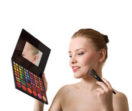 Lovely woman with palette and brush Royalty Free Stock Photos