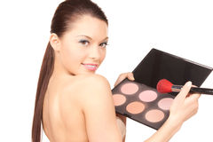 Lovely woman with palette and brush Royalty Free Stock Images
