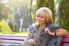 Lovely woman in park Royalty Free Stock Images