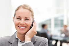 Lovely woman phoning in her office Stock Photo