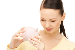 lovely woman with piggy bank Stock Image