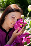 Lovely woman in pink dress Royalty Free Stock Images