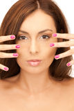 Lovely woman with polished nails Stock Image