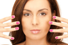 Lovely woman with polished nails Stock Photo