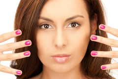 Lovely woman with polished nails Stock Photos