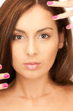 Lovely woman with polished nails Royalty Free Stock Image