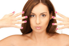 Lovely woman with polished nails Royalty Free Stock Images