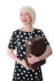 Lovely woman posing with retro suitcase Stock Images