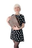 Lovely woman posing with retro suitcase Royalty Free Stock Images