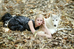 Lovely Woman Posing With a Wolf Stock Images