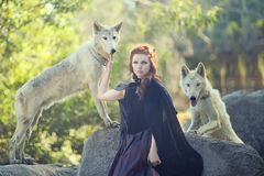 Lovely Woman Posing With Wolves Outdoors Royalty Free Stock Images