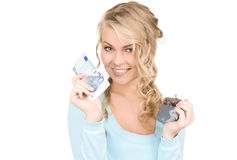 Lovely woman with purse and money Stock Photography