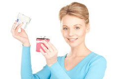 Lovely woman with purse and money Stock Image