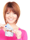 Lovely woman with purse and money Royalty Free Stock Images