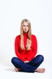 Lovely woman in red blouse Stock Photography