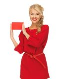Lovely woman in red dress with note card Stock Photography