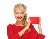 Lovely woman in red dress with note card Stock Photos