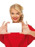 Lovely woman in red dress with note card Stock Photo