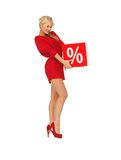 Lovely woman in red dress with percent sign Royalty Free Stock Photo