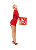 Lovely woman in red dress with percent sign Stock Image