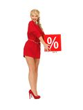 Lovely woman in red dress with percent sign Stock Photos