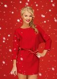 Lovely woman in red dress Stock Photo