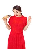 Lovely woman in a red dress soiled ice cream Stock Image