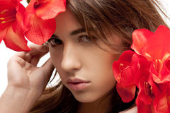 Lovely woman with red flowers Stock Image