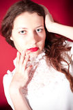 Lovely woman with red lips Stock Photography