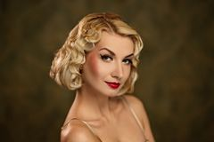 Lovely woman retro portrait. Royalty Free Stock Images