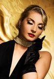 Lovely woman retro portrait Stock Photos