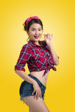 Lovely woman retro portrait  with pin-up make-up and hairstyle p Stock Image