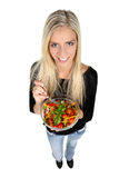 Lovely Woman with Salad Stock Images
