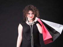 Lovely woman with shopping bags Royalty Free Stock Photography