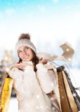 Lovely woman with shopping bags Stock Images