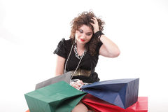 Lovely woman with shopping bags / christmas gifts isolated Royalty Free Stock Images