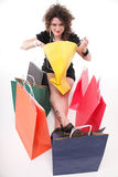 Lovely woman with shopping bags / christmas gifts Royalty Free Stock Images