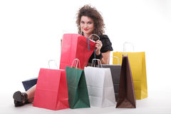 Lovely woman with shopping bags or christmas gifts Stock Photo