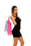 Lovely woman with shopping bags over white Stock Photography