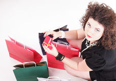 Lovely woman with shopping bags Stock Photos
