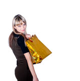 Lovely woman with shopping bags over white Royalty Free Stock Photography
