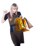 Lovely woman with shopping bags over white Stock Image