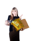 Lovely woman with shopping bags over white Stock Photo