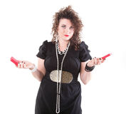 Lovely woman with shopping box / gifts Royalty Free Stock Image